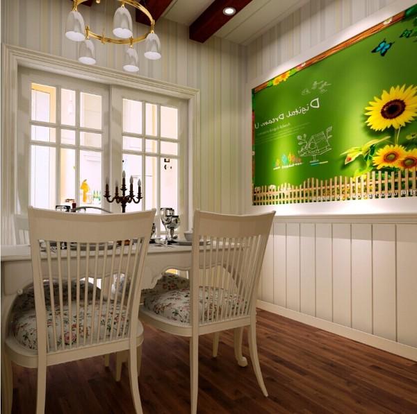 田园式的家具、贴近自然的小碎花、绿油油的向日葵草地,让人仿佛置身于大自然之中。