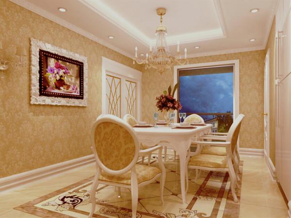 餐厅欧式花纹的餐桌椅搭配精致的饰品,提升了餐厅空间的整体格调.