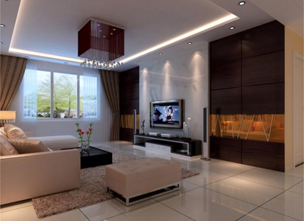 电视墙两面用红衫木为装饰饰面,附以黑白根云石加以点缀。