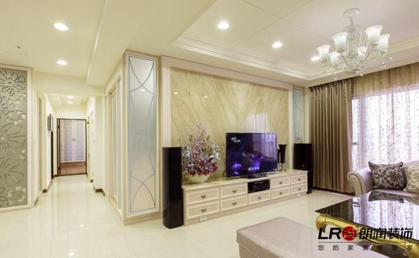 客厅电视墙造型特写!清新的低调奢华!