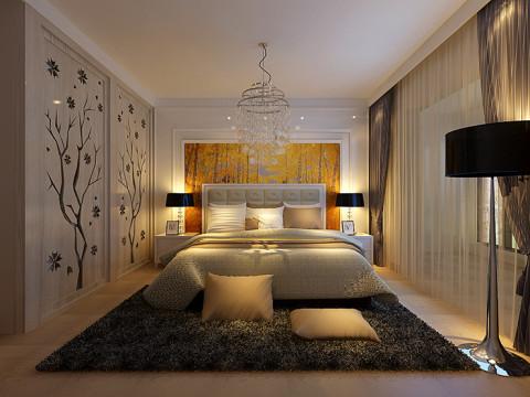 中原新城装修115平方三室两厅卧室简约风格效果图,