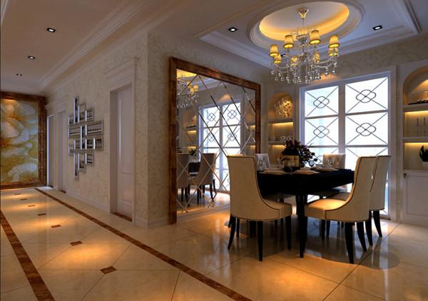锦艺国际2期三室两厅120平装修案例,餐厅装修效果图