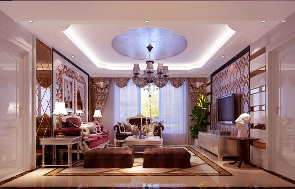 客厅餐厅,利用拉金箔,弧形的石膏线,来赢造欧式空间,又不失活跃性。在电视背景墙的处理更是利用拉现代风格与欧式风格相结合的手法来处理呢,显得空间简单大气又不失欧式的感觉。