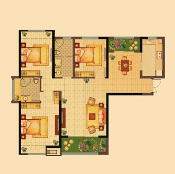 锦艺国际2期三室两厅120户型图