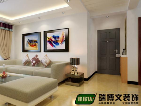 沙发背景用现代的抽象画装饰,简单时尚。