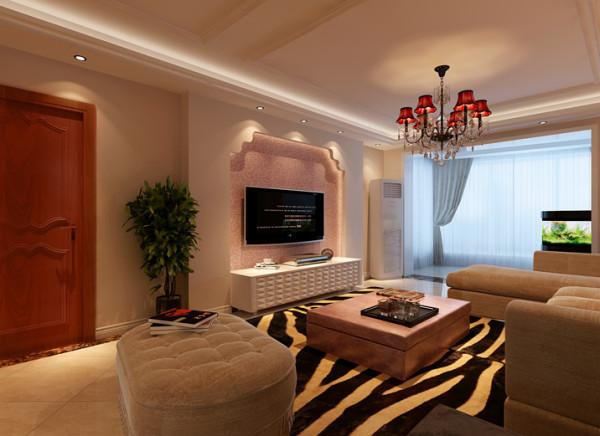 客厅背景墙与沙发墙的线条有的柔美雅致,有的遒劲而富于节奏感,整个立体形式都与其有条不紊的
