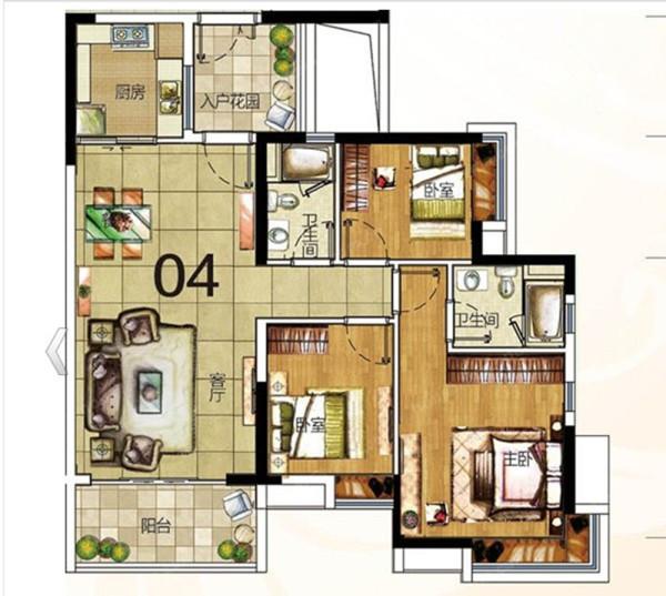 皇马花园-中式风格-107平米三居室装修-户型图
