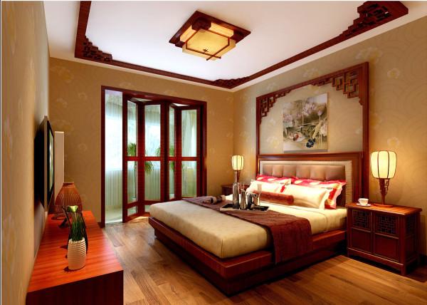 皇马花园-中式风格-107平米三居室装修-卧室装修效果图