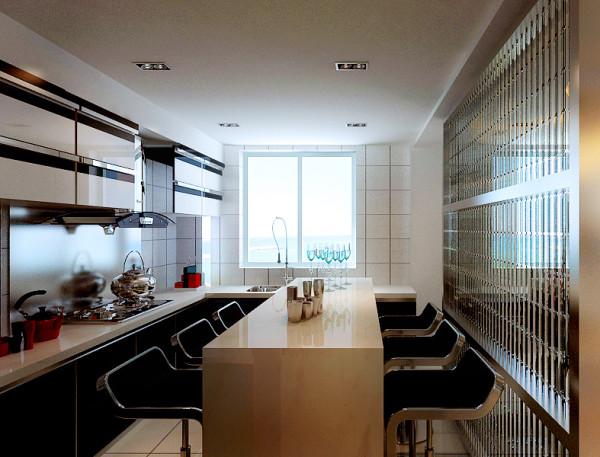 仔细看厨房,黑白色的橱柜非常亮堂干净;吧台的设计既利用了空间,也非常有用。