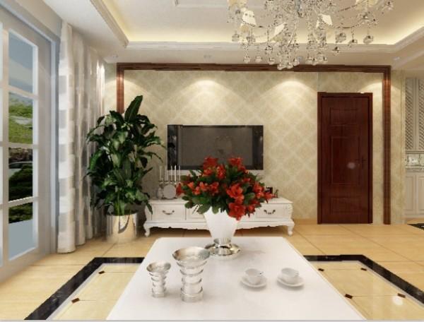 电视墙以简单的实木框加温馨欧式壁纸,配黑胡桃门,