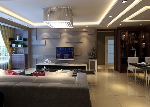 电视背景墙的造型,既简洁又大方,再加上灰色,配上顶部照下来的灯光,整个电视背景墙把客厅格调给提升了起来.