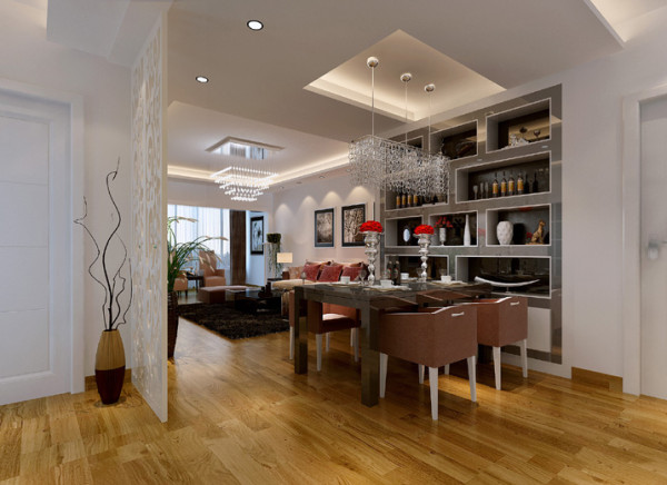 没有更多的复杂修饰,简单的天花,酒柜就将餐厅区域有效的划分出来.