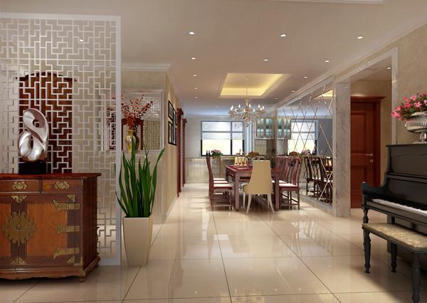 华贸城三居室户型餐厅效果图