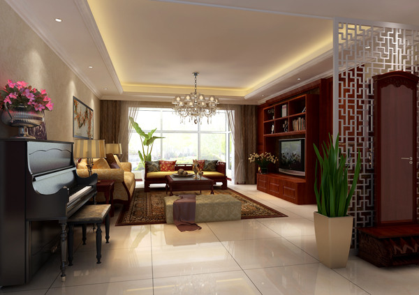 华贸城三居室户型客厅效果图