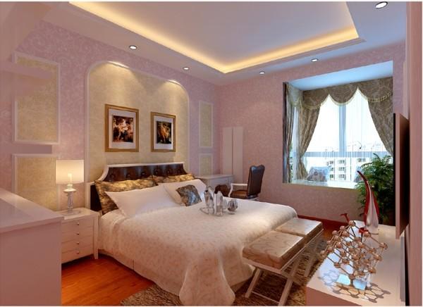 粉色的公主范的次卧室,浪漫温馨,粉色还有使人放松的效果