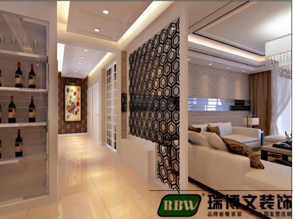 户型南北通透,通过顶面造型和隔断的运用使区域分明。白色沙发,深色地毯,暖色地砖是空间更沉稳,有家的安全感