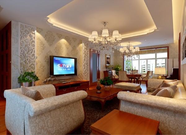 淡雅清新的现代简欧,时尚的米白沙发与电视背景墙的呼应,让整个客厅营造出时尚,高贵,轻松,愉悦的视觉空间。