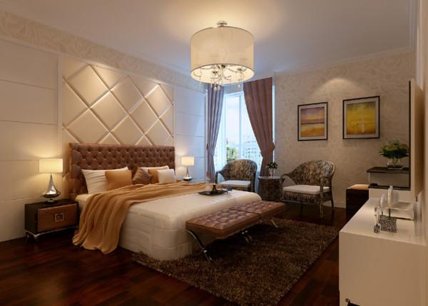 地板.床.窗帘,棕色系的稳重;家具,白色系的典雅;壁纸,浅米色系的温馨,给您营造一个放松.浪漫的卧式.