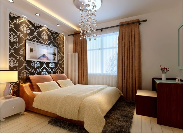 一张简单的图饰壁纸床头背景墙就能让您拥有一个别样风情的卧室空间.