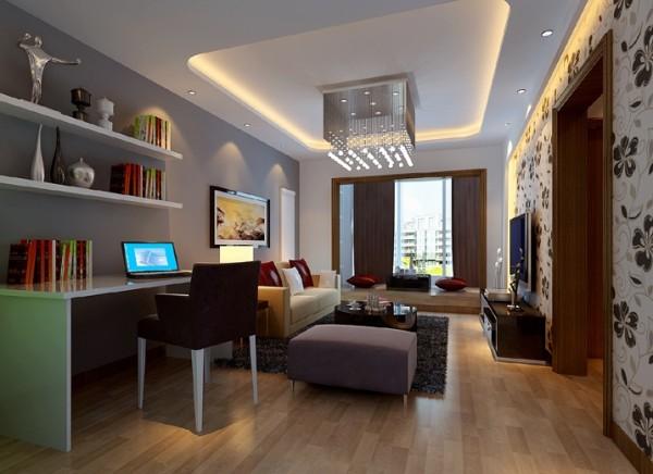 休闲地台.阅览区在起居室里被谐调的安置,方案最大化的利用了有限的空间.