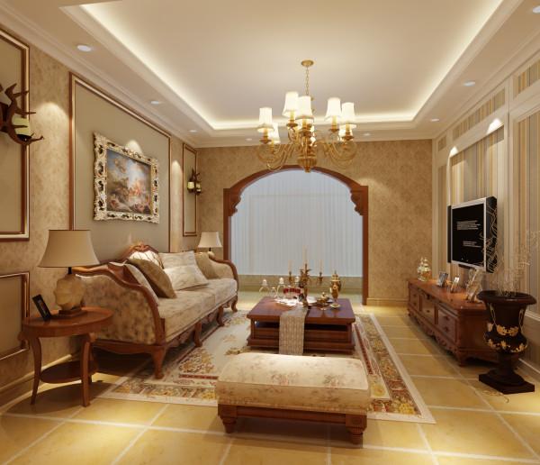 电视背景墙的壁纸与沙发背景壁纸的呼应是精心选择的,线条和欧式花纹的搭配卓识增加了空间的层次感,吊顶区域选用双石膏线也是为了增加整个上下空间的拉伸感,达到小叠顶的效果