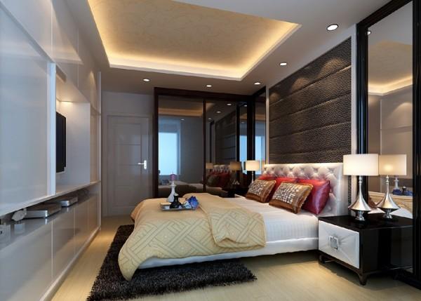 白色的整体衣柜提升了卧室空间的色调,床头两侧玻璃背景在视觉上拉长了空间的宽度.整个空间给人感觉干净.明亮.