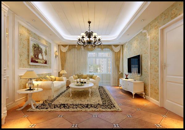 客厅是为了招待来宾和宴请朋友用的,在材料选择上多倾向于较硬、光挺、华丽的材质。沙发后装饰画与墙漆相得益彰,电视墙配以电视机,舒适大方。