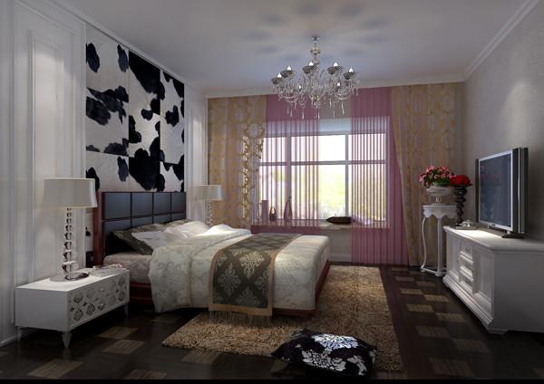 华贸城三居室户型卧室效果图