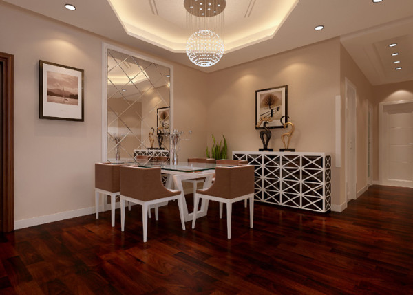 菱形玻璃背景强不仅将就餐空间效果扩大,也给整个空间带来一丝灵动.