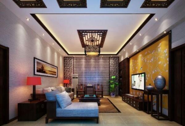 宽敞的客厅,家具典雅的轮廓与精美的灯饰相得益彰,壁画、鲜花和挂灯也是很好的点缀。电视背景墙作为客厅的焦点尤为令人注目,明亮的色调配以淡雅脱俗的梅花与整个空间融合的恰到好处。