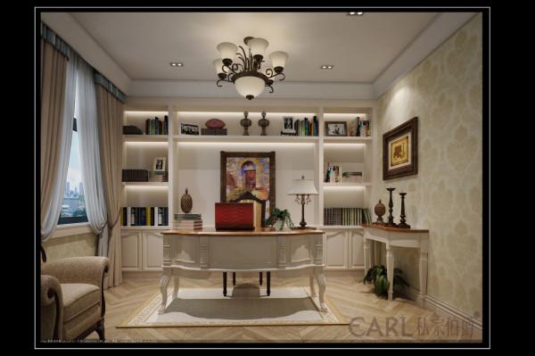 书房主要风格为欧式居多,整个色调为暖色调,白色烤漆书桌与摆设台加上原木色桌面,显得干净利落,与侧面墙壁纸色调与休闲沙发色调相一致。墙上挂画与书柜上的书籍与装饰品为整个空间点缀。
