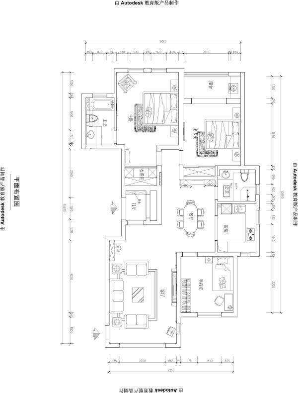 本户型位于普罗旺世三居室简约欧式风格装修设计案例【户型图设计】