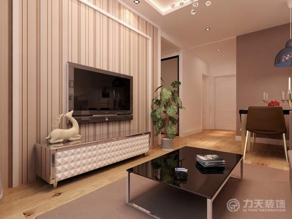 电视背景墙为现代壁纸和白色石膏板造型
