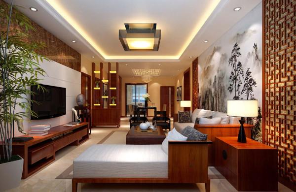 中式特有的红木颜色,以及方格状雕花,水墨背景画,一系列的经典元素组合,配以顶面现代风格的灯池,石材电视背景墙,用现代材质的质感呼应经典中式的底蕴,使整个客厅空间浑然一体。