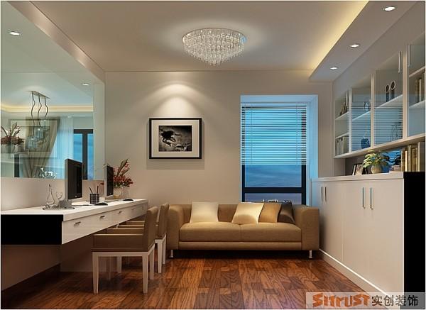 把客厅与书房之间打造成半通透,这样提升了客厅的空间感,书房的采光等方面都得到了最大的满足,因此本案也完全体现出了现代风格的精髓之处,以功能为设计的中心和目的。