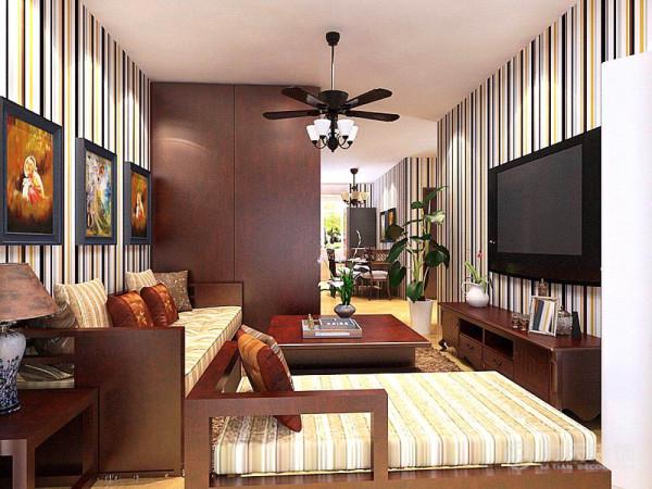 本案例为了增加储物空间在入户鞋柜旁加了组步入式衣帽间,沙发采用新中式风格再加上条纹壁纸与色彩丰富的画形成鲜明的对比。在餐桌与橱柜的选择上采用乡村风格古典系列,与客厅相结合摆脱了沉闷的感觉。