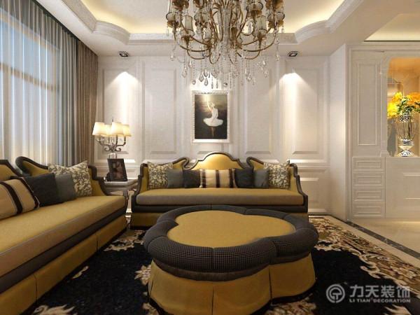 客厅处,电视背景墙采用的是大理石和镜面相间的设计,镜面使空间更为宽阔。沙发背景墙设计的是护墙板,既可以保护墙体又可以美化墙体。