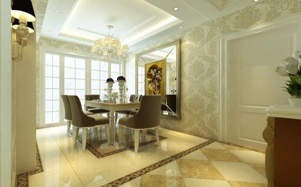 餐厅背景墙的添加不仅仅把现代感的元素融入了进来,同时也进一步增添了用餐的温馨。