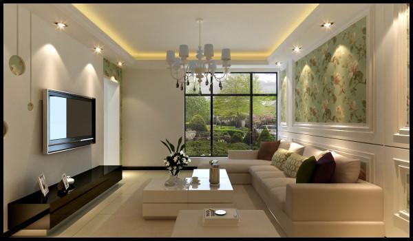 客厅的整体是比较简约的设计,现在的房高一般都是2.7米左右不适合大面积的做造型,在四边走一个造型整体既不显的太空旷又装点了整体的风格。