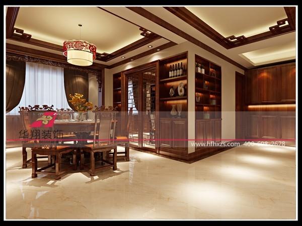 餐厅紧邻厨房,两个空间的墙面上做了用来储物的展示柜,已满足业主对储物空间的需求。同样的储物空间还可以再效果图的右边得以体现。