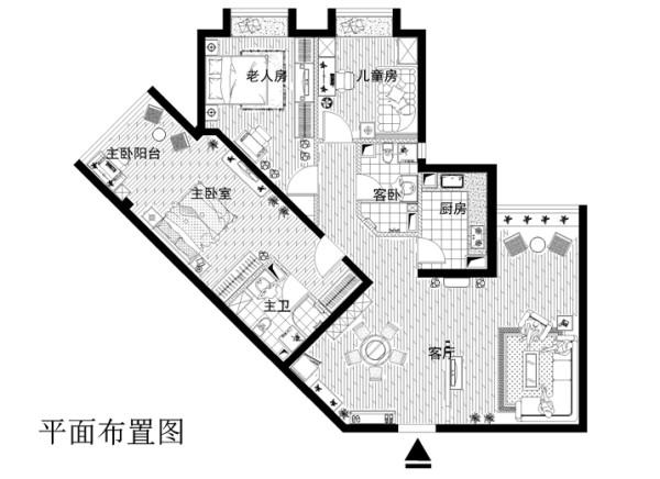 东方家园小区140平米布置图