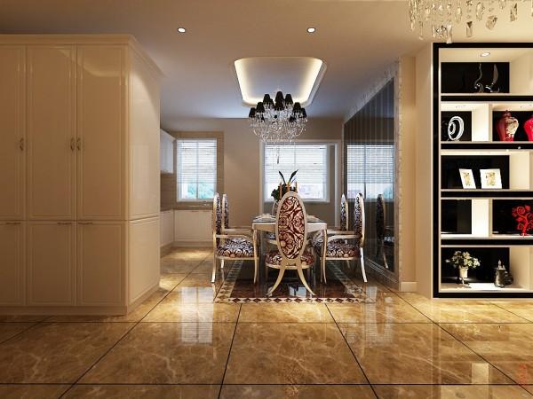 厨房为开放式厨房,为迎合敞开式厨房,让餐厅划分的简单合理,为让主人有充裕的就餐空间,地面的拼花、墙面的镜面虽处理简单,但不失欧式的大气和尊贵。