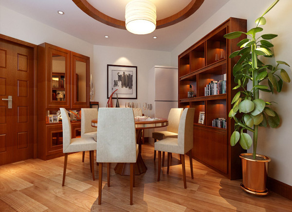 餐厅将古典元素用现代的眼光编织进生活中,顶部的吊灯与餐桌简洁的线条结合,让流行与经典同列一室,用古典的中国元素来构成新概念和新视觉。