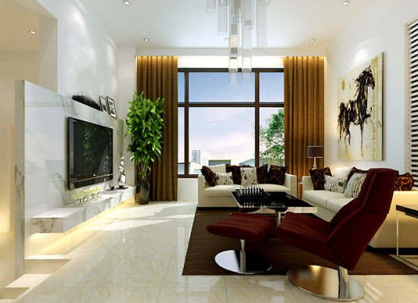 客厅装饰材料与色彩设计,为现代风格的室内效果提供了空间背景。首先,在选材上用了石材、木材、面砖等天然材料,材料之间的结构关系完美结合,力求表现出一种完全区别于传统风格的高度技术的室内空间气氛。