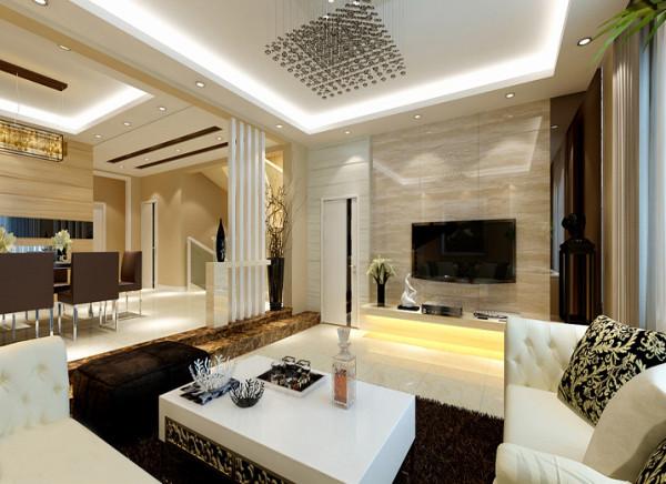 电视背景墙也是采用大理石上墙的设计手法,整体显得既华丽又不俗气。