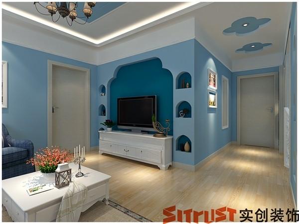 实创整体家装/百瑞景/相恋地中海/蓝色的浪漫-电视墙设计