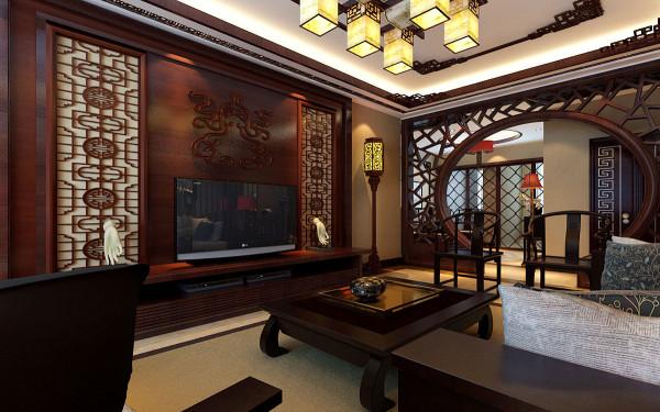 客厅中国传统的造景方法讲究虚实结合、若即若离的朦胧感觉,既要看到美景又要有一眼望不透的效果。移步换景,借景,月牙镂空隔断,博古架,古玩,字画,屏风,瓷器无不体现古色古香的雅致。