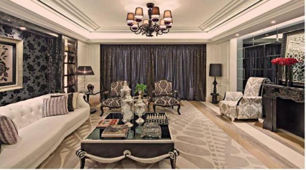 客厅从墙面、到地面到天花,不繁复,不重叠同时也层次分明不显简单和平庸。 用大理石、华丽多彩的织物、精美的壁纸、多姿曲线的家具,让室内显示出豪华、富丽的特点。