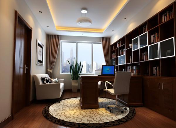 书房整体式设计,大面积书柜的运用,看书累了,沙发上小憩一会。