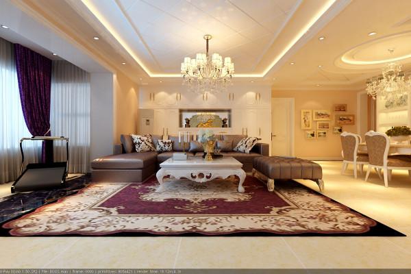 换个角度看客厅,奢华之感不言而喻,造型顶、水晶吊灯、乳白色的沙发壁柜等设计,使得整个空间更具有灵气,跟主人的想法不谋而合。